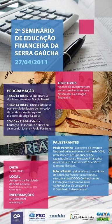 Seminário de educação financeira da serra gaúcha parceria com a FSG